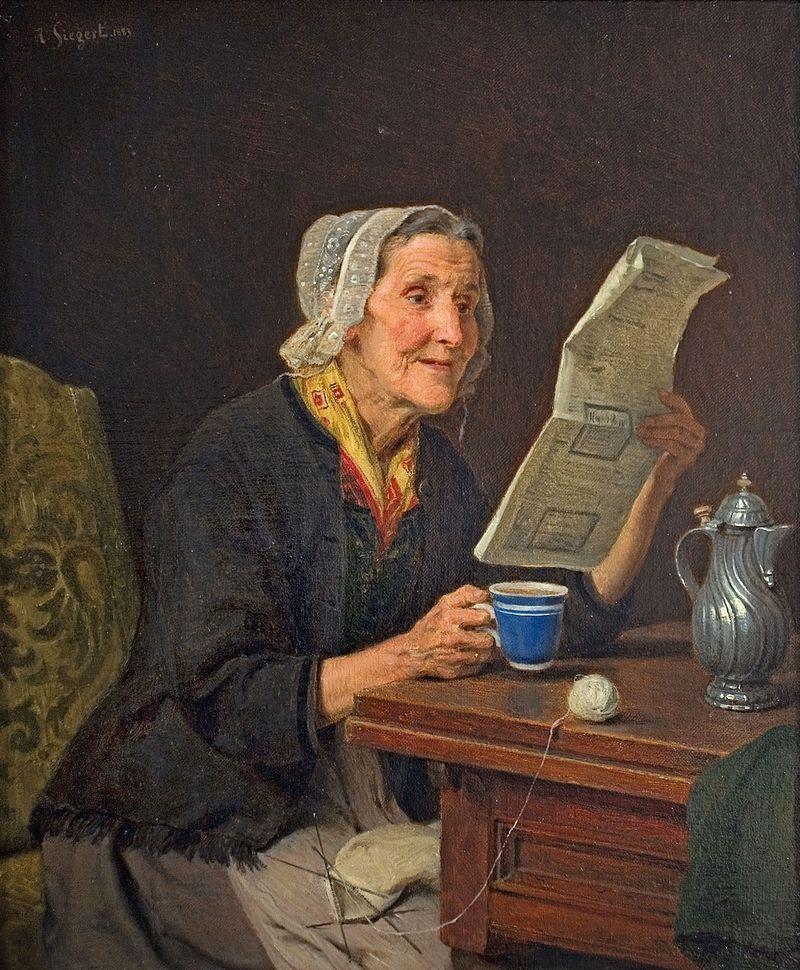 August Friedrich Siegert – Alte Frau mit Zeitung und Kaffeetasse 1883.jpg