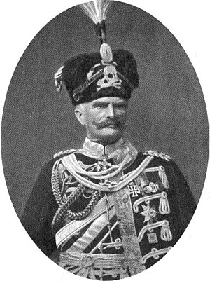 Totenkopf - August von Mackensen, German field marshal in hussar full dress prior to 1914, with the Totenkopf on his fur busby