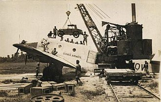 Charles Raymond Gurney - Image: Austin 7 car being loaded in Junkers G 31 at Lae 1933 (C R Gurney)