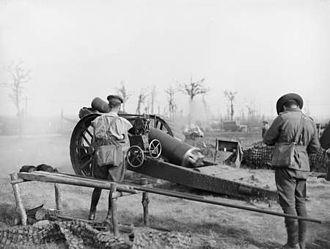 1st Siege Artillery Battery (Australia) - Image: Australian 8inch Howitzer Firing Ypres 15September 1917