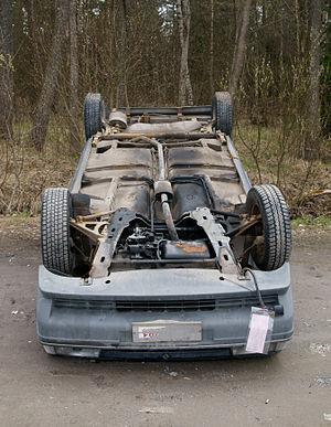 Car upside down.