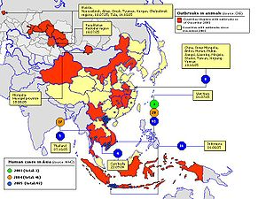 Global spread of H5N1 - The spread of avian influenza in the eastern hemisphere.