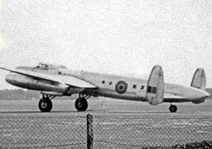 Rolls-Royce Nene - The Rolls-Royce Avro Lancastrian Nene test bed in 1948 fitted with the jet engines in the outboard position