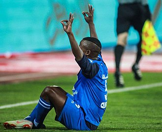 Ayanda Patosi - Patosi celebrates after scoring his first goal for Esteghlal on his debut.