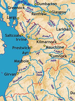 Ayrshire - Ayrshire, with rivers and several towns.