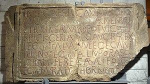 Legatus Augusti pro praetore - Image: Böhming Römerkastell Bauinschrift Abguss 181