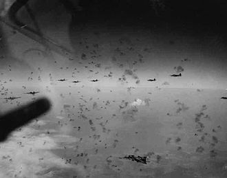 Schweinfurt - US bombers flying through FlaK over Schweinfurt