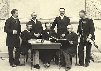 Demetrius Vikelas - The International Olympic Committee at the first Olympic Games in Athens. Vikelas is seated in the center