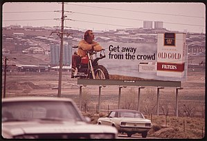 Lorillard Tobacco Company - Billboard in Denver promoting Old Gold cigarettes (May 1972).