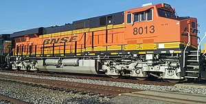 BNSF Railway - BNSF 8013 at Dallas, Texas, 20 May, 2014, awaiting re-crew.