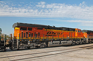 GE Evolution Series - Rear view of brand new BNSF Railway ES44C4 no. 8270, at Ashland, Nebraska, on October 19, 2014.