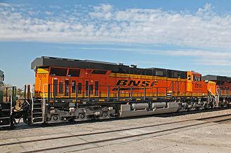 GE Evolution Series - Rear view of brand new BNSF Railway ES44C4 no. 8270, at Ashland, Nebraska, on October 19, 2014.