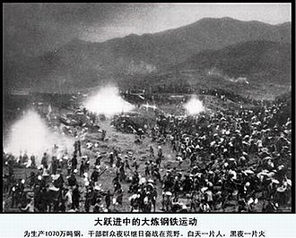Cultural Revolution - People in the countryside working at night to produce steel during the Great Leap Forward.