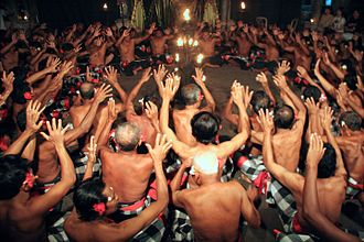 Balinese dance - Kecak dance performed by many male dancers.