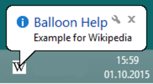 Balloon help - Balloon help as shown under Windows 8.1