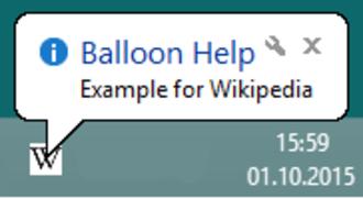 Balloon help - Balloon help as shown under Windows 8.1