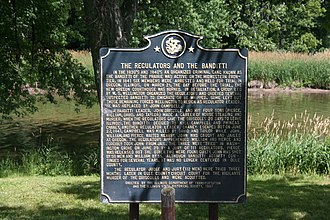 "Banditti of the Prairie - ""The Regulators and the Banditti"", an Illinois state historical marker documenting Regulator vigilante activities in driving out an Ogle County, Illinois faction of the ""Banditti of the Prairie"", along the Rock River, near Byron, Illinois, on state highway, Route 2."