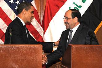 2009 in Iraq - Iraqi Prime Minister Nouri al-Maliki shakes hands with U.S. President Barack Obama in Baghdad, 7 April 2009
