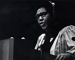 Barbara Jordan - Image: Barbara Jordan standing at a podium in doctoral regalia