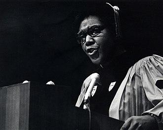 Barbara Jordan - Image: Barbara Jordan standing at a podium in doctoral regalia