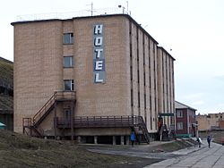 The only hotel in town, the Barentsburg Hotel.