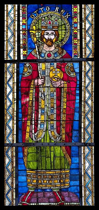 Otto I, Holy Roman Emperor - 12th-century stained glass depiction of Otto I, Strasbourg Cathedral