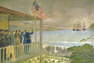 Battle of Monterey - Officers of Commodore Sloat raise the U.S. flag over Monterey
