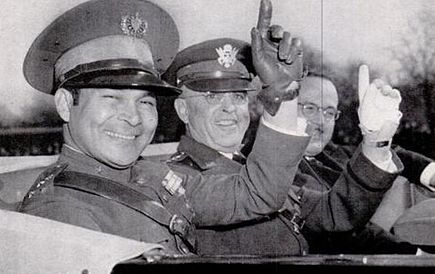 Castro intended to overthrow the presidency of General Fulgencio Batista (left, with U.S. Army Chief of staff Malin Craig, in 1938). BatistaDC1938.jpg