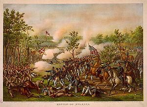 English: The Battle of Atlanta, chromolithogra...
