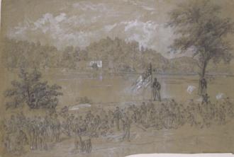 Battle of Shepherdstown - Ford near Shepherdstown, on the Potomac. Pickets firing across the river. Alfred R. Waud, artist, Sept. 1862.