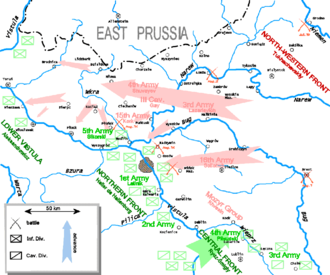 16th Army (RSFSR) - The Battle of Warsaw before the Polish counterattack, 16th Army positions are east of the city