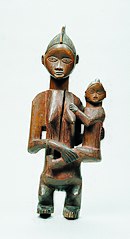 Statue of a mother and child (wenyi or gihalu giwenyi) of the Mbala people