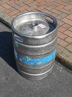 Beer Keg outside the Plasterers Arms, Hoylake.JPG