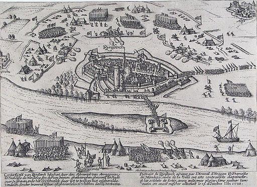 Beleg van Rijnsberch - Siege of Rheinberg in 1598 by Mendoza (Frans Hogenberg)