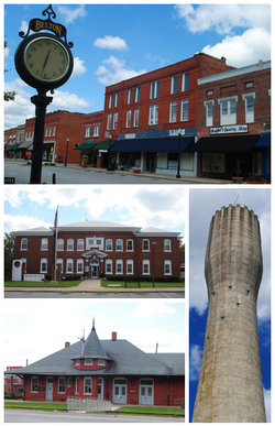 Top, left to right: Downtown Belton, Belton City Hall, Belton Depot, Belton Standpipe