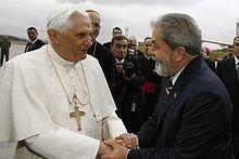 Con el presidente de Brasil Luiz Inácio Lula da Silva a su arribo al aeropuerto de São Paulo