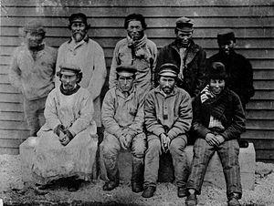 Bering Island - Group of Aleut hunters from Bering Island. 1884–1886.