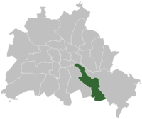 The location of Treptow in Berlin