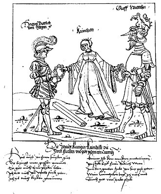 Rosengarten zu Worms - Dietleib and Walther both receive a garland of roses from Kriemhild. Image from a text of the Berlin Rosengarten play, SB Berlin mgf 800, Bl. 2v.