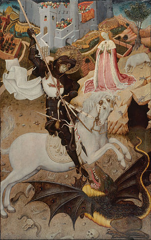 Bernat Martorell - Saint George killing the dragon, 1430-1435 (Art Institute of Chicago).