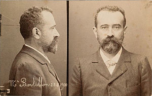 Mug shot - Self-portrait mug shot of Alphonse Bertillon, who developed and standardized this type of photograph, 22 August 1900