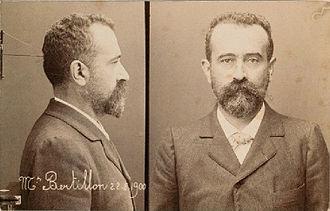 Mug shot - Self-portrait mug shot of Alphonse Bertillon, who developed and standardized this type of photograph, 22 August 1900