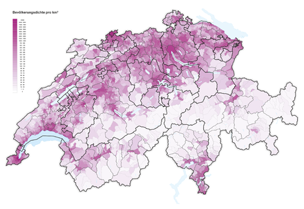 Population density in Switzerland (2016) Bevolkerungsdichte der Schweiz 2016.png