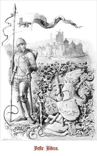 Bibra family - Representation of a Bibra knight in front of the castle Bibra