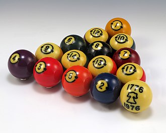 Billiard ball - Old style Brunswick pool balls, the numbers are not located on the stripe