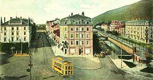 Trams in Biel/Bienne - Ce 2/2 1–12 electric tramcar in Zentralplatz / Place Centrale, 1903.