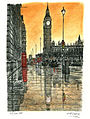 Big Ben on a rainy evening in London by Stephen Wiltshire MBE.jpg