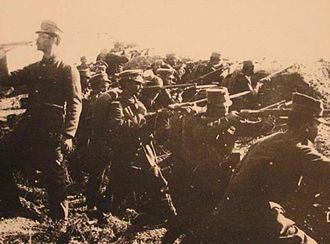 Hellenic Army - Greek infantry preparing to launch an attack at the Battle of Bizani (1913)