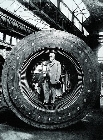 Ottó Bláthy - Ottó Bláthy in the armature of a Ganz turbo generator (1904)