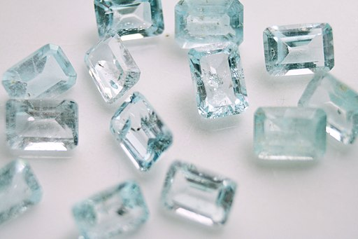 Blue topaz gemstones with inclusion